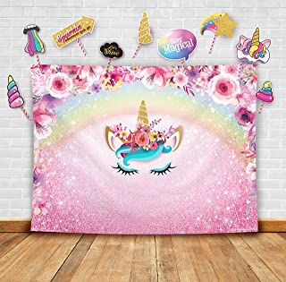 Sparkly Floral Unicorn Theme Photography Backdrop and Studio Props DIY Kit. Great as Photo Booth Background Rainbow Birthd...