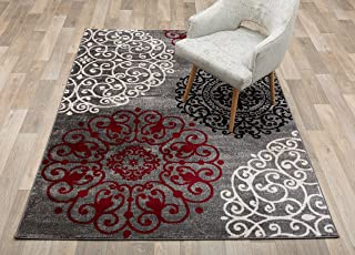 Contemporary Modern Floral Indoor Soft Area Rug 9` x 12` Red