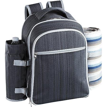 Hap Tim Sac /à Dos Pique-Nique pour 4 Personnes avec couvertures en Laine et Compartiment Isotherme Gris