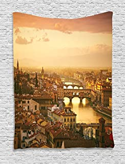 Ambesonne Wanderlust Decor Collection, Bridge Ponte Vecchio Italy Bird Eye Sunset View Castle Houses Historic Cityscape, Bedroom Living Room Dorm Wall Hanging Tapestry, Ivory Peach