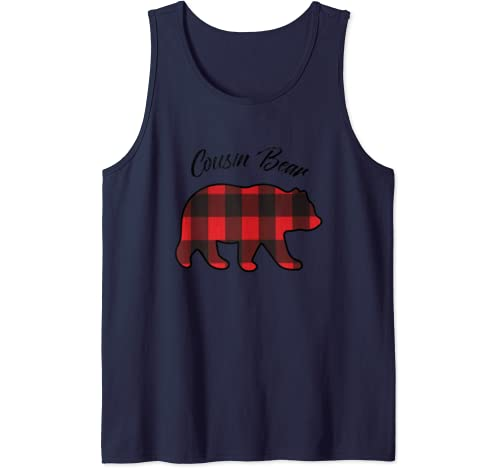 Cousin Bear Matching Family Christmas Red Plaid Pajama Gift Tank Top