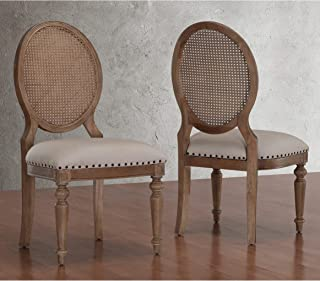 Weathered Oak Cane Back Dining Chairs (Set of 2) Beige French Country Wood