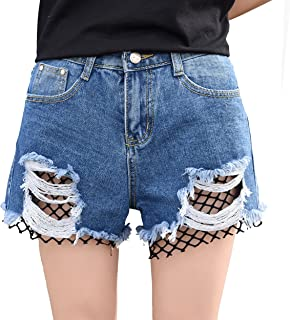 レディース 春 夏 韓国 肥満MM 大きいサイズ 釣りネット 穴パッチクロッ ジーンズ 短パン ルーズローライズ半 ズボン