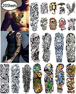 DaLin Extra Large Temporary Tattoos Full Arm and Half Arm Tattoo Sleeves for Men Women 20 Sheets