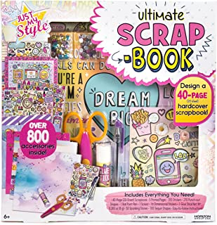 Just My Style Ultimate Scrapbook by Horizon Group USA,Personalize & Decorate Your DIY Scrapbook with Stickers,Sequins,Gemstones & More.40-Page Hardcover Scrapbook,Pen,Scissors & Glue Stick Included