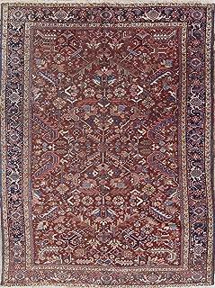 Antique All-Over Heriz Serapi Persian Area Rug Vegetable Dark Rust Wool Carpet 8x11 (10' 6'' X 7' 11'')