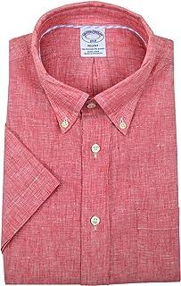 Brooks Brothers メンズ リージェントフィット 100%リネン 半袖ボタンダウンシャツ リネンレッド