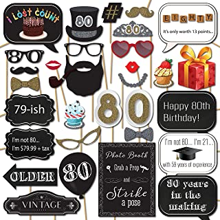 80th Birthday Photo Booth Props with 31 Printed Pieces Wooden Sticks and Strike a Pose Sign by Sunrise Party Supplies