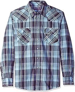 Cinch Men's Modern Fit Long Sleeve Snap Two Flap Pocket Plaid Shirt