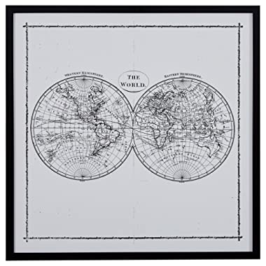 Amazon Brand – Rivet World Map Hemisphere Print in Black and White Vintage Wall Art, Black Frame, 30.5  x 30.5