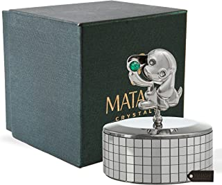 "Matashi Chrome Plated Puppy Dog Music Box ""Love Story"" 