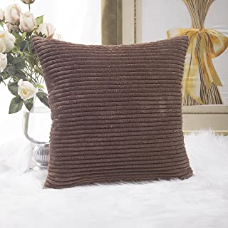 Home Brilliant Decor Solid Supersoft Corduroy Stripes Square Throw Pillow Cushion Covers Decorative, 18x18 inches (45cm), Brown