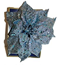 Enfeite de Poinsétia com glitter de 2 x 22 cm (2 azul claro)