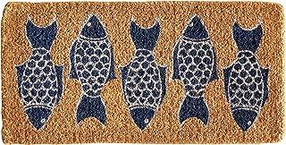 Creative Co-Op Fish Print Natural Coir Doormat, Blue