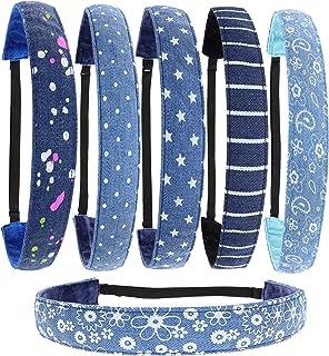 FROG SAC 6 PCS Denim Non Slip Headbands for Girls, Adjustable No Slip Headband Pack for Kids, Elastic Fashion Hair Band fo...