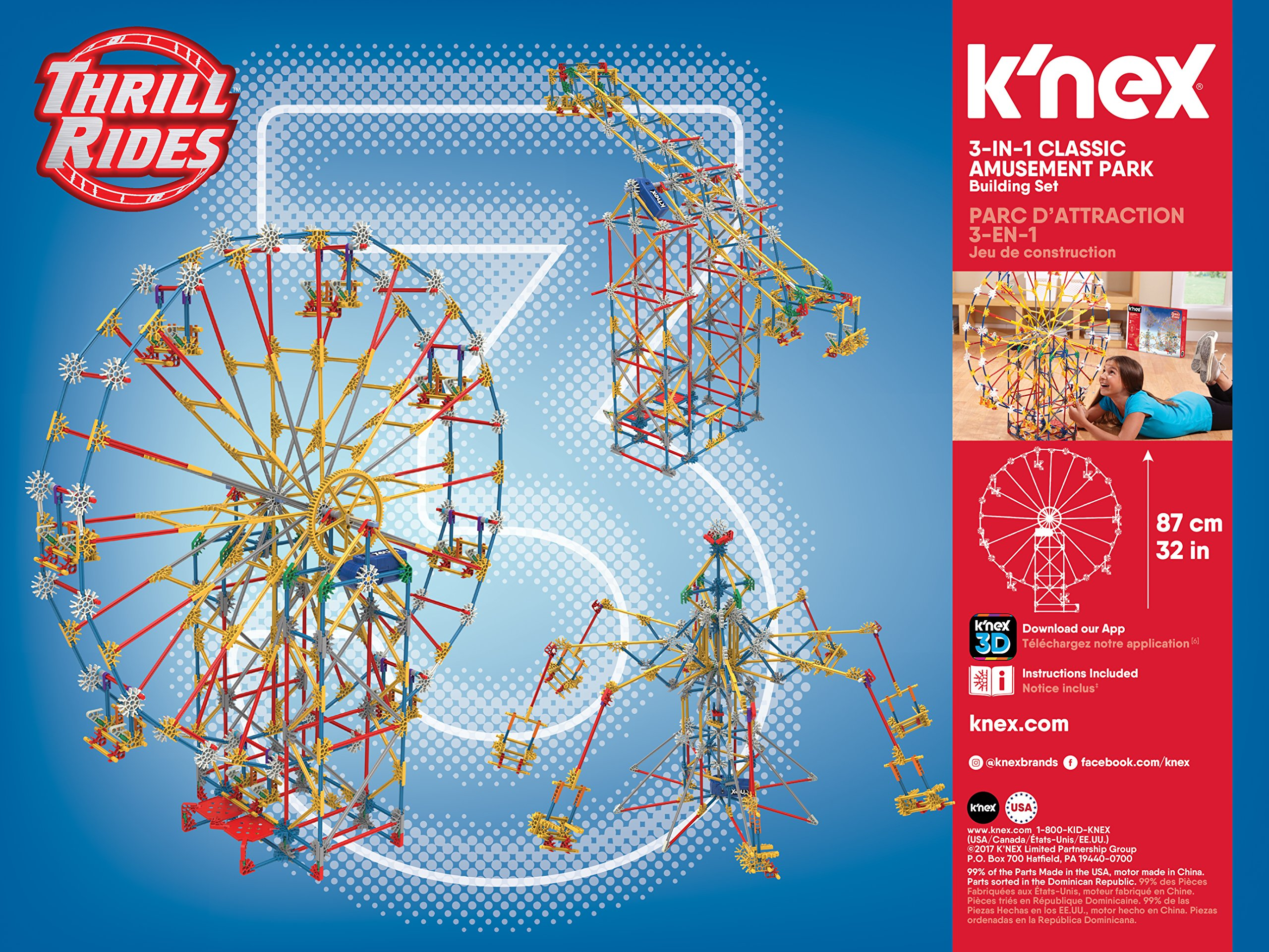 Amazon Com K Nex Thrill Rides 3 In 1 Classic Amusement Park Building Set Multicolor Toys Games