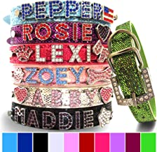 Bling Stuff For Fun, Personalized Customized PU Leather Glitter Rhinestone Bling Name Collar for Dogs & Puppies