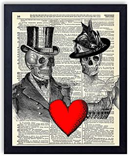 Til Death - Victorian Skeleton Love Vintage Wall Art Upcycled Dictionary Art Print Poster 8x10 inches, Unframed