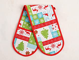 Thread Spread 100% Cotton Double Oven Glove/Mitt, 7.5 - inch by 35 - inch Designed in France Holiday Collection