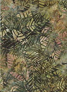 "Robert Kaufman Olive Green, Willow Green Tie Dye Rainbow Batik ~ HALF YARD!! ~ Java Block Printed (Tjap Stamped) Deciduous Leaves Bali Tie Dye (Ikat) Batik Gradation ~ Quilt 100% Cotton 44"" Wide"
