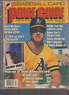 SPORTS COLLECTORS DIGEST BASEBALL CARD PRICE GUIDE MONTHLY-FEBRUARY 1990--{MARK MCGWIRE COVER}, INCLUDES 5 FREE COLLECTORS CARDS, RUBEN SIERRA, DWIGHT EVANS, RICKEY HENDERSON, MARK LANGSTON, SANDY ALOMAR JR.