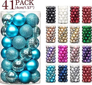 Jusdreen 41pcs Christmas Balls Ornaments for Xmas Tree Shatterproof Christmas Tree Hanging Balls Decoration for Holiday Party Baubles Set with Hang Rope 1.57