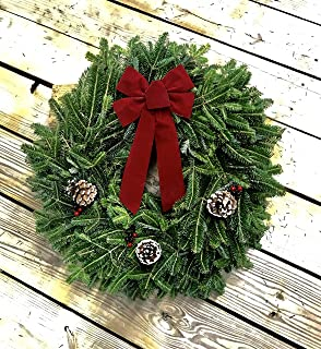24 in. Fresh Fraser Fir Christmas Wreath - Delivered to Your Door