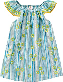 Masala Baby Baby Girls Daisy Flutter Dress Metallic Stripe