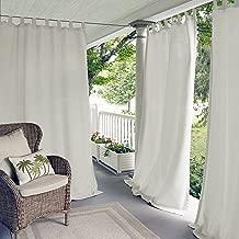 Elrene Home Fashions Matine Indoor/Outdoor Solid Tab Top Single Panel Window Curtain Drape, 52