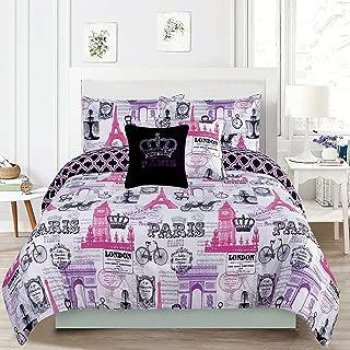 HowPlumb Bedding Twin 4 Piece Girls Comforter Bed Set, Paris Eiffel Tower London Pink and Purple