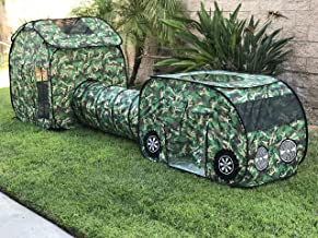 G3ELITE Kids Camo Play Tent, Childs 3 Piece Vehicle Pop Up Indoor/Outdoor Foldable Camouflage Tunnel Playhouse Gift Set with Carry/Storage Bag - (Green, Brown, Black & Cream Camo) + 1 Year Warranty
