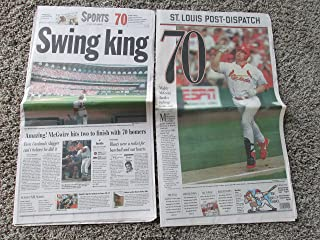 Lot of 25 MARK McGWIRE 70th Home Run St. Louis Dispatch (Baseball) Newspapers