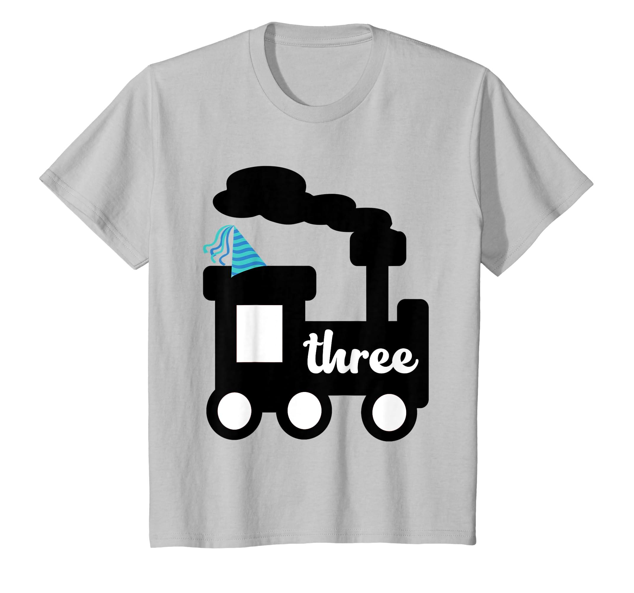 Amazon Kids 3 Year Old 3rd Birthday Shirt Boy Locomotive Train Gift Clothing