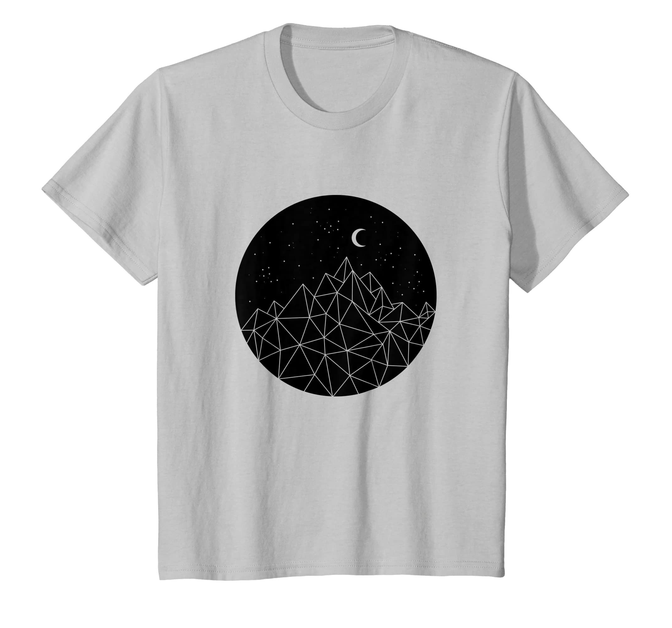 d251643f7145 Amazon.com: Poly Mountain Moon Stars Starry Dark Night Graphic T shirt:  Clothing