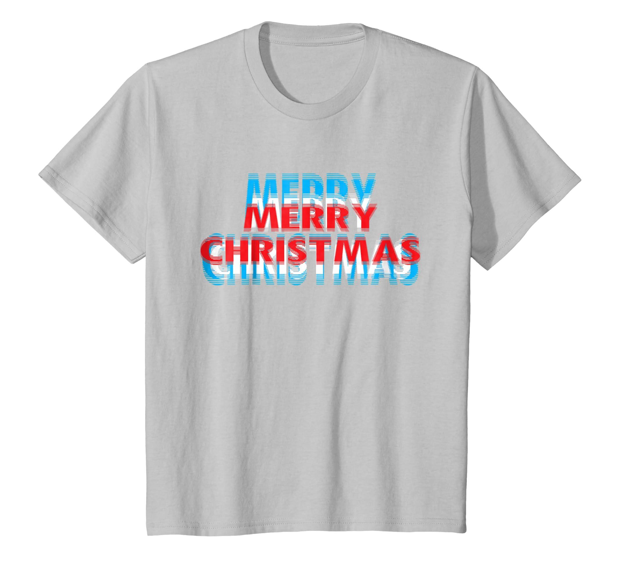 Merry Christmas Blurred Effect Design T Shirt-Teechatpro