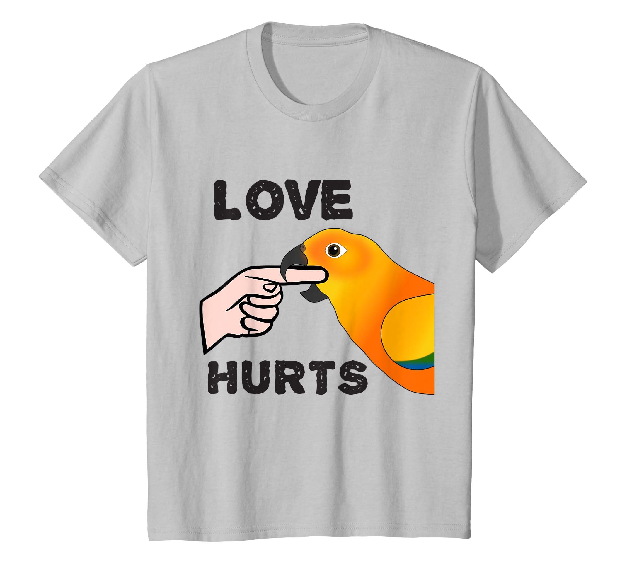 8636818f8485 Amazon.com  Love Hurts Sun Conure Parrot Biting T-shirt Valentine s Day   Clothing