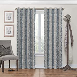 """Eclipse Nadya Print Thermal Insulated Single Panel Grommet Top Darkening Curtains for Living Room, 52"""" x 95"""", Smokey Blue"""