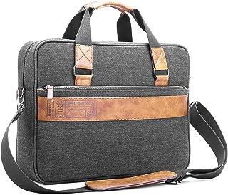 "Noble Threads Messenger Briefcase 15.6"" Laptop Bag with Leather, Velvet, Denim"