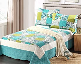 Tache Blue Patchwork Quilt Bedspread - Spring Pond - Print Floral Paisley Geometric - Blue, White, Lime Green Reversible Coverlet Set - 3 Piece - King