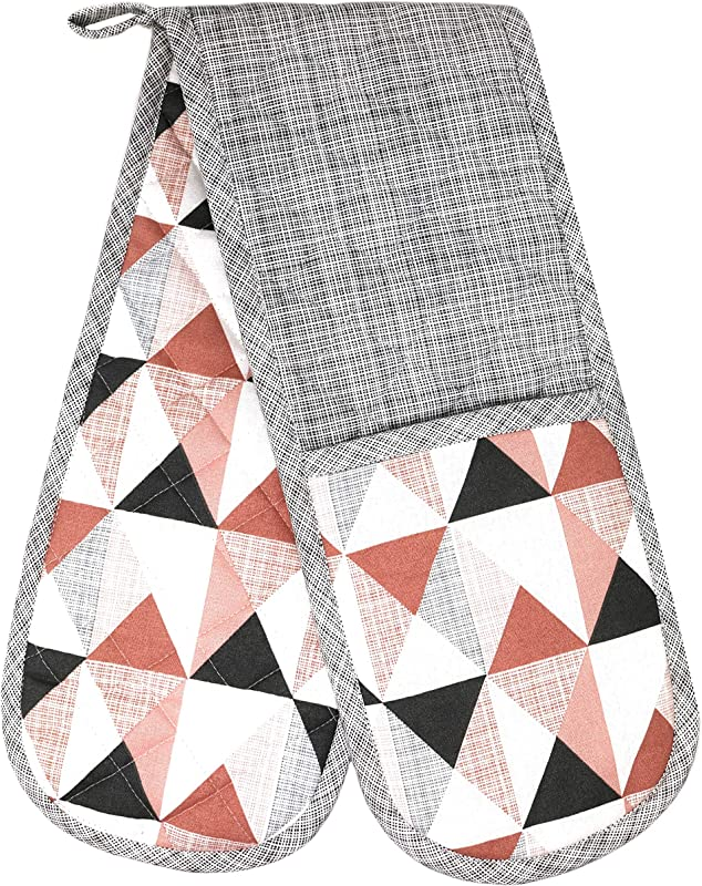 Clay Roberts Double Oven Mitts Pink Grey Triangles Design Traditional Cotton Design Heat Resistant 36 Wide Reach Cooking Gloves