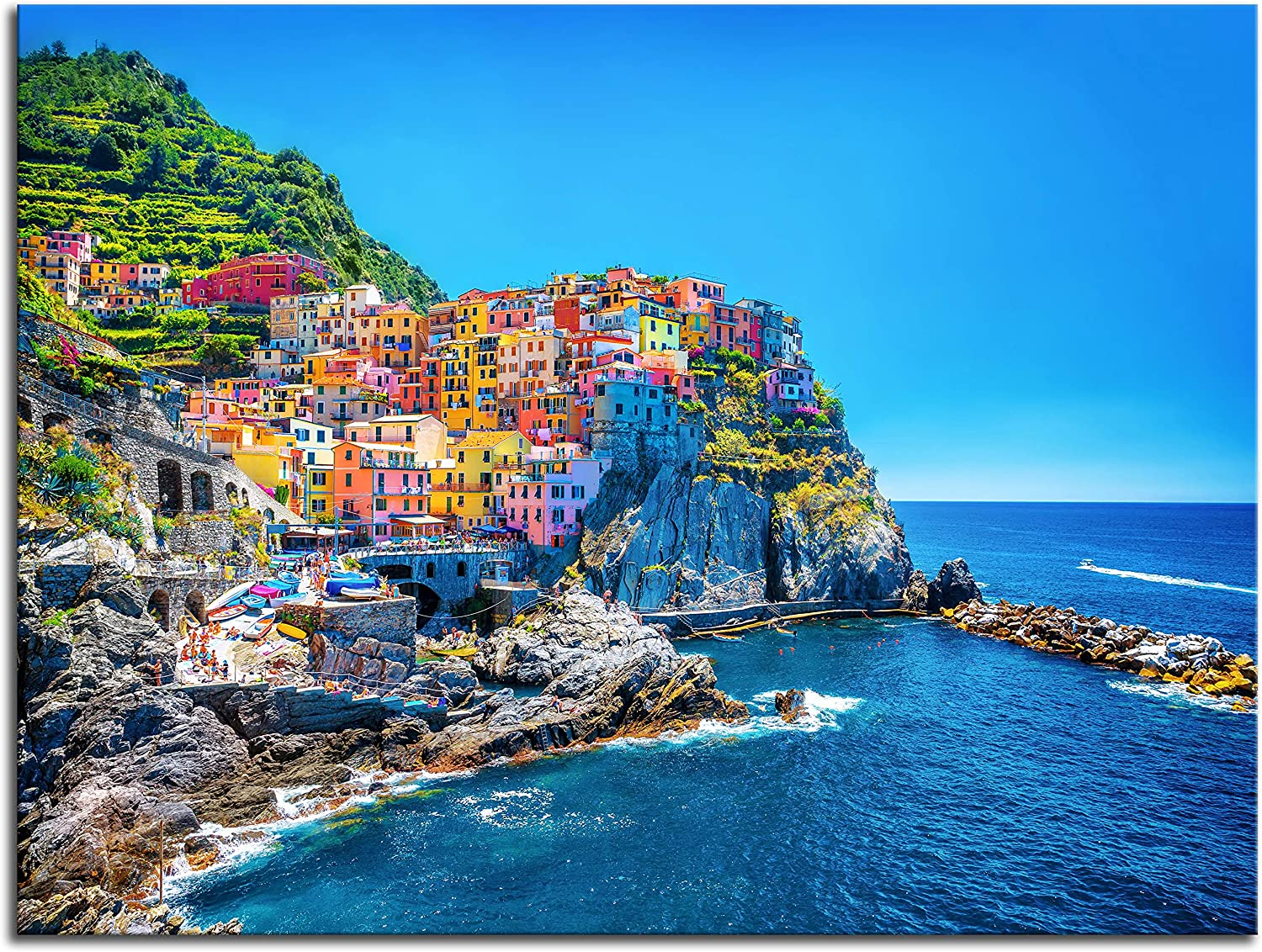 NAN Wind Modern Canvas Painting Wall Art Cityscape Traditional Port Mediterranean Sea Cinque Terre Italy Coast Landscape Print On Canvas Giclee Artwork for Wall Decor