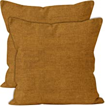 Encasa Homes Chenille Throw Pillow Covers 2 pcs Set - Mustard- 18 x 18 inch / 45 x 45 cm Textured Solid Colour, Soft & Smo...