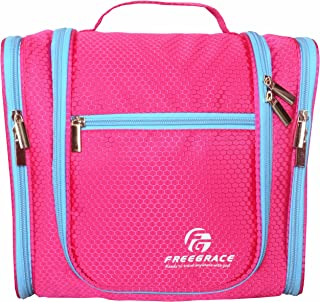 Premium Toiletry Bag By Freegrace - Large Travel Essentials Organizer - Durable Hanging Hook - For Men & Women - Perfect For Accessories, Cosmetics, Personal Items, Shampoo, Body Wash (Pink)