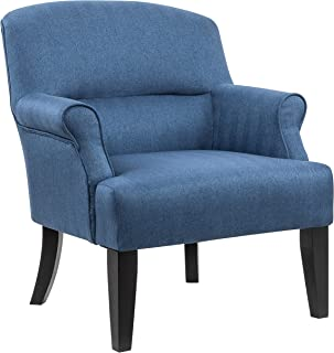 Amazon Brand – Ravenna Home Penridge Rolled Armed Seamed Back Accent Chair, 29.92W, Navy Blue