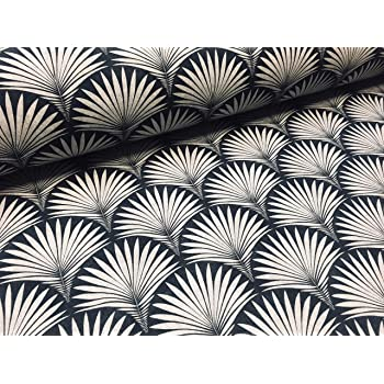 Geometric Damask Floral Fan Fabric Art Deco 100 Cotton Curtain Upholstery Home Decor Black And Cream Sample 10 Cm X 10 Cm Amazon Co Uk Kitchen Home