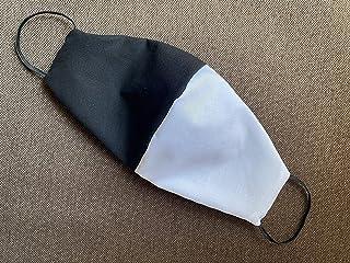 Mascherina artigianale lavabile Bianco nero tifoso calcio cotone con tasca per filtro maschera protezione facciale