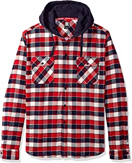 DC Shoes Mens Shoes Runnels Long Sleeve Hooded Flannel Shirt Edywt03201