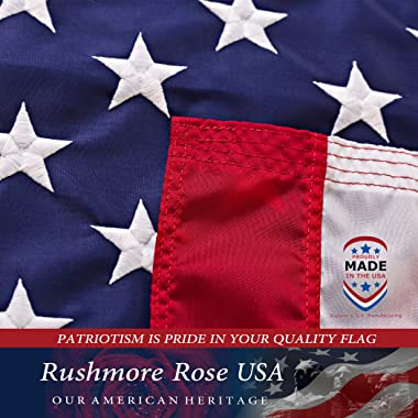 American Flag 3x5 ft - Made in USA. Premium US Flag. Embroidered Stars and Stripes - American Flags for Outdoors Made in Amer