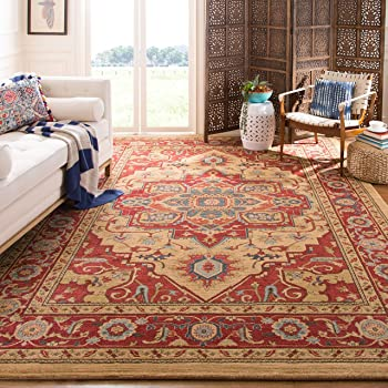 Safavieh Mahal Collection MAH698A Traditional Oriental Red and Natural Area Rug (10' x 14')