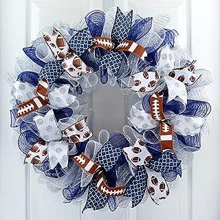 Football Door Wreath | Navy Silver White Mesh Outdoor Front Door Wreath